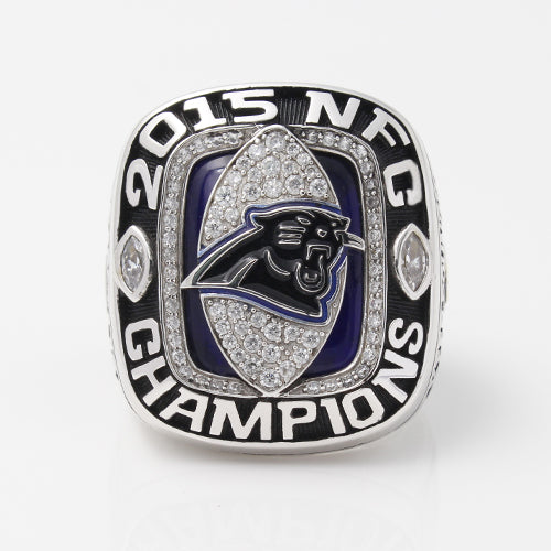Carolina Panthers 2015 National Football Championship Ring With Blue Sapphire