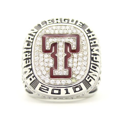 Custom Texas Rangers 2010 American League Championship Ring Red Garnet
