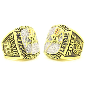 Custom New York Yankees 2001 American League Championship Ring With 18K Gold