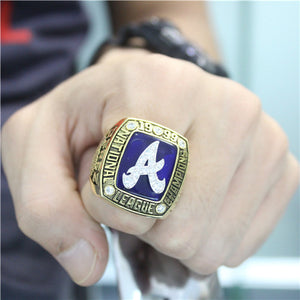 Custom Atlanta Braves 1999 National League Championship Ring With White Rock Crystal