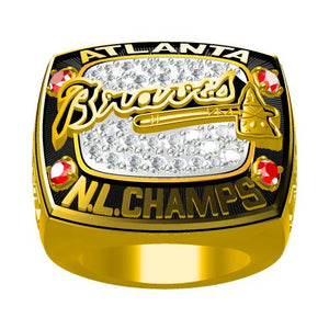 Custom Atlanta Braves 1996 National League Championship Ring With Red Ruby