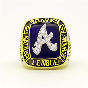 Custom Atlanta Braves 1991 National League Championship Ring With White Rock Crystal