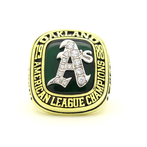 Custom Oakland Athletics 1988 American League Championship Ring With Green Chrysoprase
