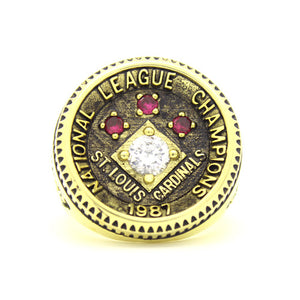 Custom St. Louis Cardinals 1987 National League Championship Ring With Red Ruby