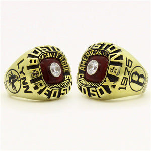 Custom Boston Red Sox 1975 American League Championship Ring With Red Garnet