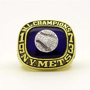 Custom New York Mets 1973 National League Championship Ring With Blue Synthetic Sapphire