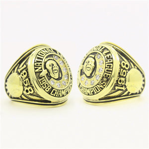 Custom Atlanta Braves 1958 National League Championship Ring with Yellow-White Gold Plating