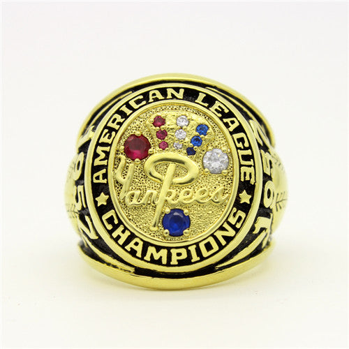 New York Yankees 1958 American League Championship Ring with Blue Sapphire and Red Ruby