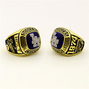 Custom Los Angeles Dodgers 1974 National League Championship Ring With Blue Synthetic Sapphire