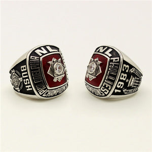 Custom Philadelphia Phillies 1983 National League Championship Ring With Red Garnet