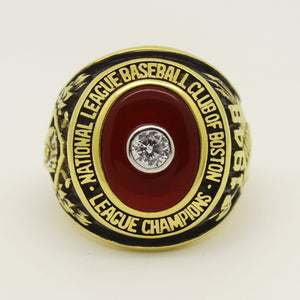 Custom Boston Braves 1948 National League Championship Ring with Red Ruby