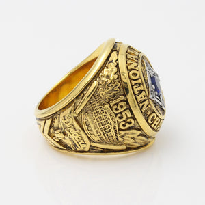 Brooklyn Dodgers 1953 National League Championship Ring with Blue Sapphire and Gold Plating