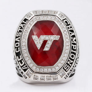 Virginia Tech Hokies 2016 ACC Coastal Championship Ring With Red Ruby