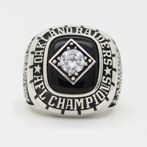 Custom Oakland Raiders 1967 American Football League AFL Championship Ring With Black Obsidian