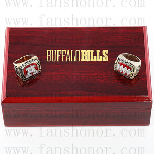 Customized Buffalo Bills AFC Championship Rings Set Wooden Display Box Collections