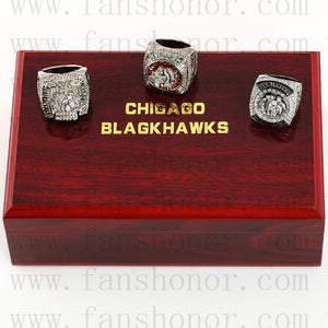 Customized Chicago Blackhawks NHL Championship Rings Set Wooden Display Box Collections