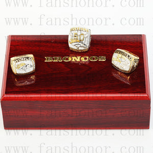 Customized Denver Broncos NFL Championship Rings Set Wooden Display Box Collections