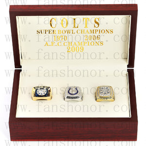 Customized Baltimore Colts NFL Championship Rings Set Wooden Display Box Collections