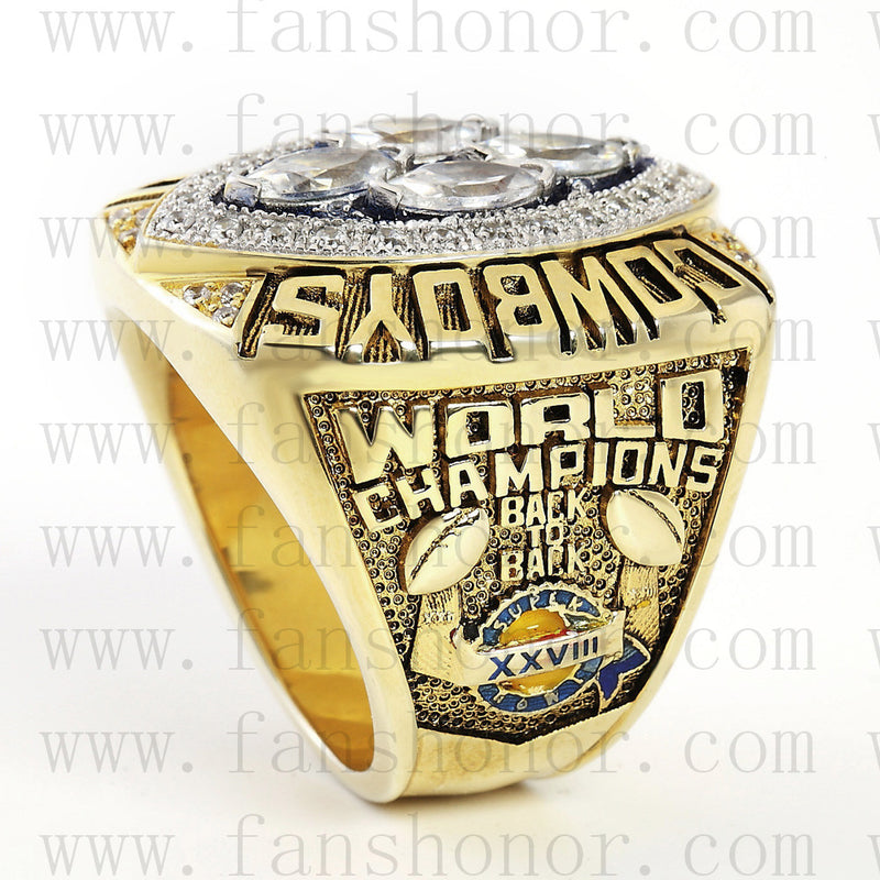 Customized Dallas Cowboys NFL 1993 Super Bowl XXVIII Championship Ring