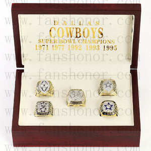 Customized Dallas Cowboys NFL Championship Rings Set Wooden Display Box Collections