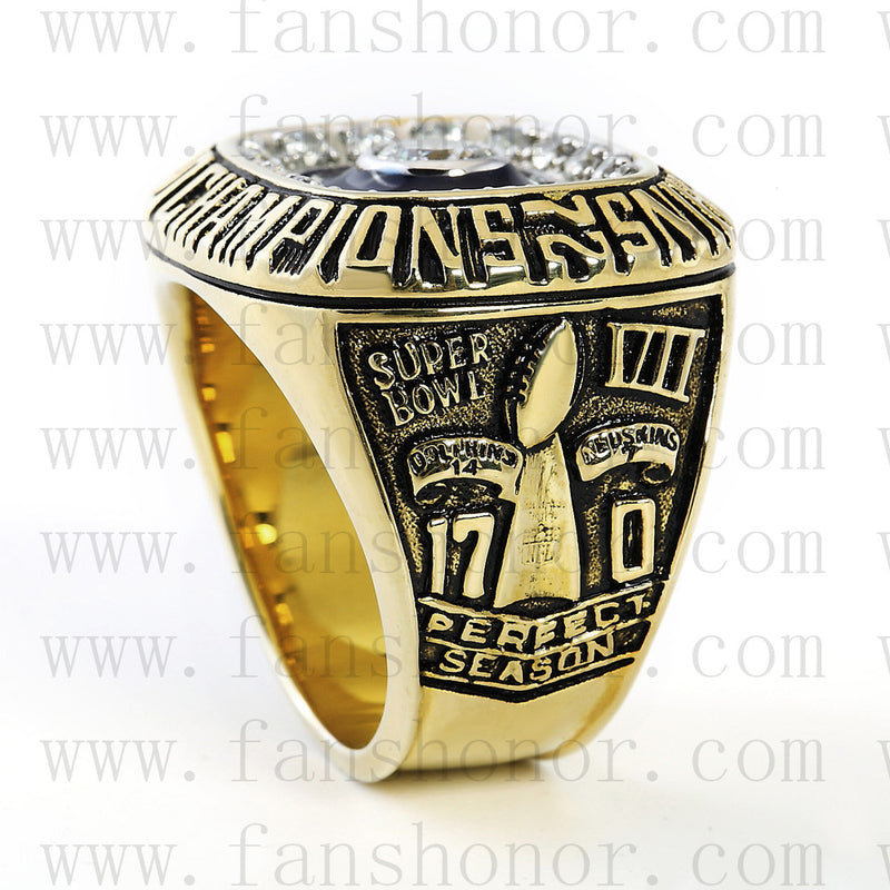 Customized Miami Dolphins NFL 1972 Super Bowl VII Championship Ring