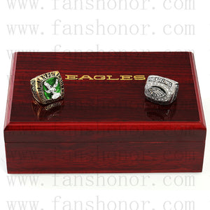 Customized Philadelphia Eagles NFL NFC Football Championship Rings Set Wooden Display Box Collections