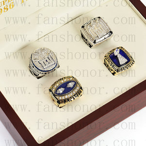 Customized New York Giants NFL Championship Rings Set Wooden Display Box Collections