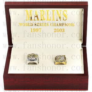 Customized Florida Marlins MLB Championship Rings Set Wooden Display Box Collections