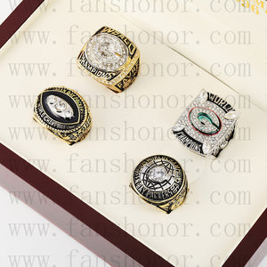 Customized Green Bay Packers NFL Championship Rings Set Wooden Display Box Collections