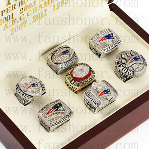 Customized New England Patriots NFL Championship Rings Set Wooden Display Box Collections