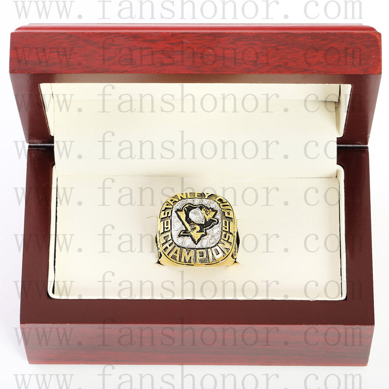 Customized NHL 1991 Pittsburgh Penguins Stanley Cup Championship Ring