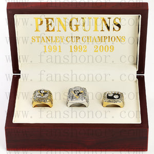 Customized Pittsburgh Penguins NHL Championship Rings Set Wooden Display Box Collections
