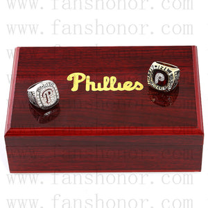 Customized Philadelphia Phillies MLB Championship Rings Set Wooden Display Box Collections