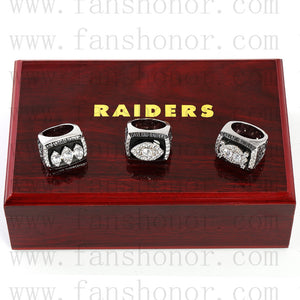 Customized Oakland Raiders NFL Championship Rings Set Wooden Display Box Collections