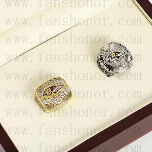 Customized Baltimore Ravens NFL Championship Rings Set Wooden Display Box Collections