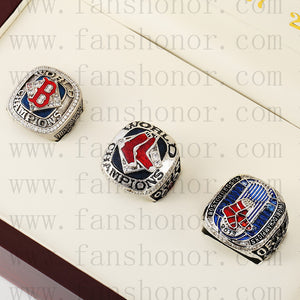 Customized Boston Red Sox MLB Championship Rings Set Wooden Display Box Collections