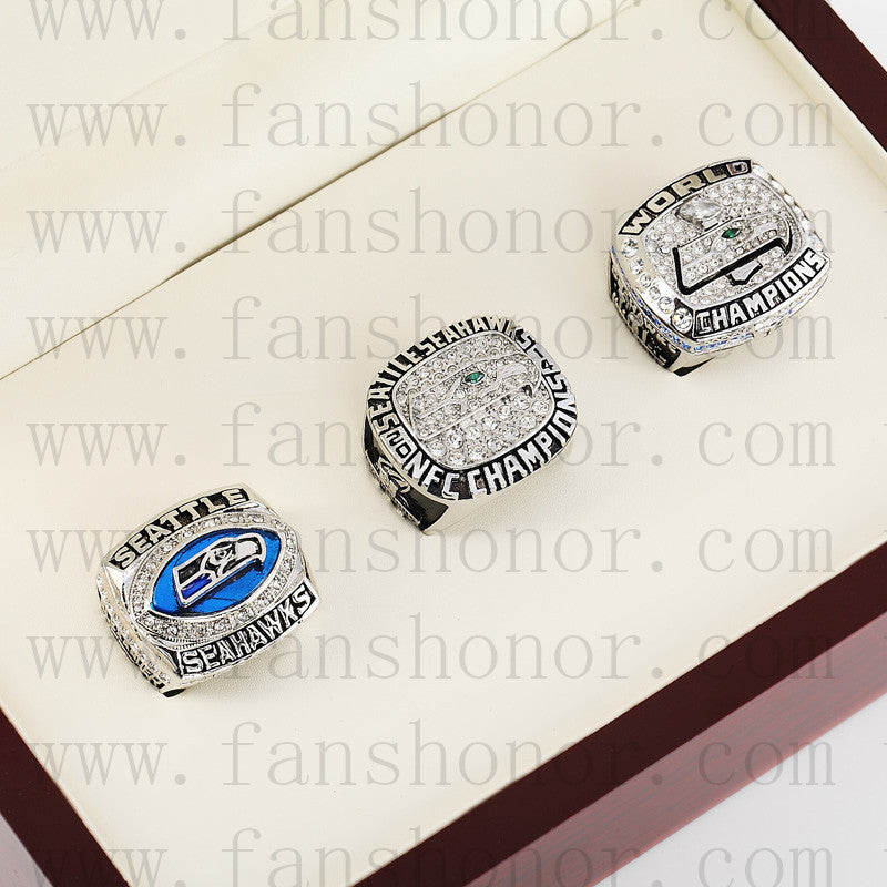 Customized Seattle Seahawks NFL NFC Championship Rings Set Wooden Display Box Collections