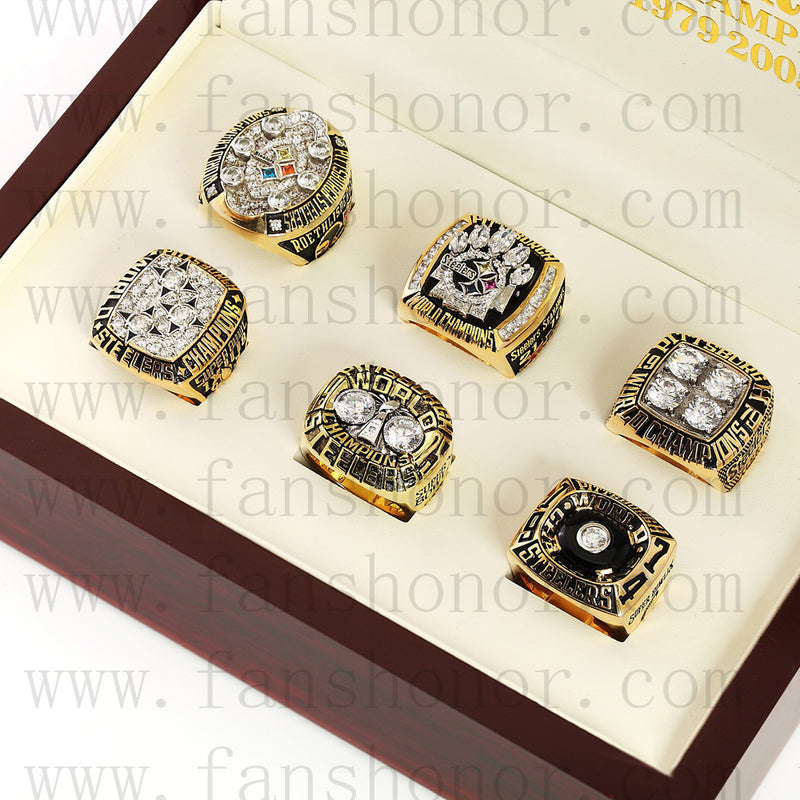 Customized Pittsburgh Steelers NFL Championship Rings Set Wooden Display Box Collections