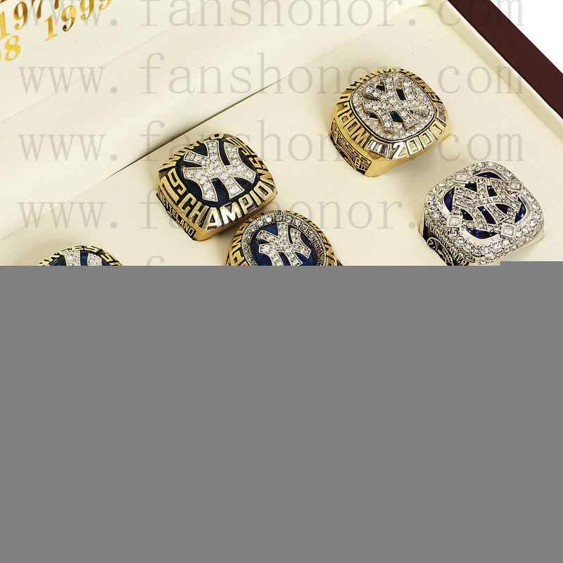 Customized New York Yankees MLB Championship Rings Set Wooden Display Box Collections