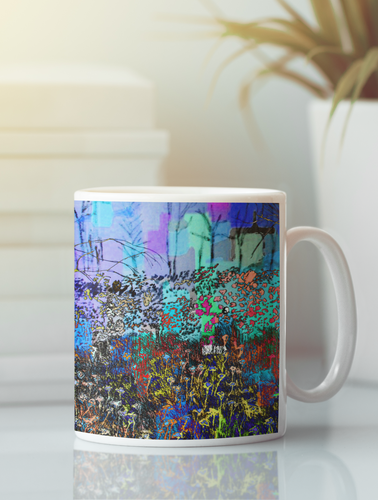 A field of flowers impressionistic pop art coffee mug.