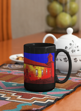 Load image into Gallery viewer, Abandoned Church Pop Art black coffee mug.