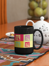 Load image into Gallery viewer, Barn Window Abstract Pop Art black coffee mug.