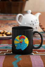 Load image into Gallery viewer, Big Cock Rooster Pop Art black coffee mug.