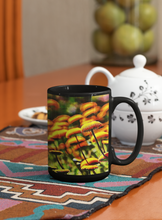Load image into Gallery viewer, Button flowers modern abstract Pop Art black coffee mug.