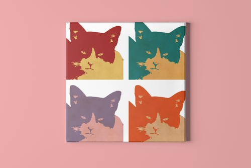Cats today 4-panel pop art canvas print.