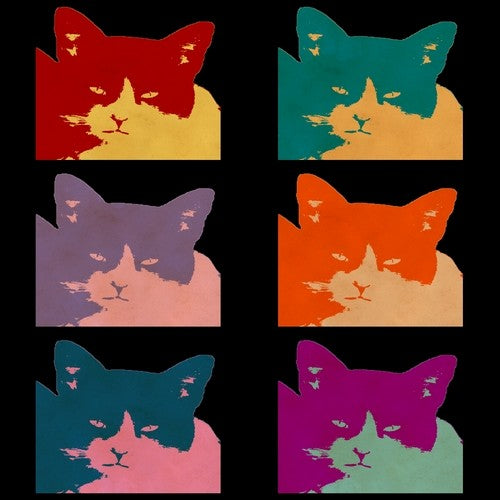 Cats Today Dark Portrait Pop Art Print