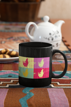 Load image into Gallery viewer, Chicken 4-panel abstract Pop Art black coffee mug.