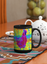 Load image into Gallery viewer, Chicken digital Pop Art black coffee mug.