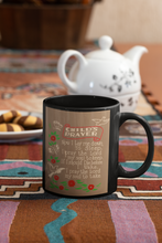 Load image into Gallery viewer, Child's Prayer Pop Art black coffee mug.