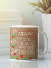 Load image into Gallery viewer, Child's Prayer Pop Art white coffee mug.